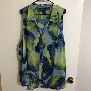 Lane Bryant Sheer Sleeveless Blouse 28